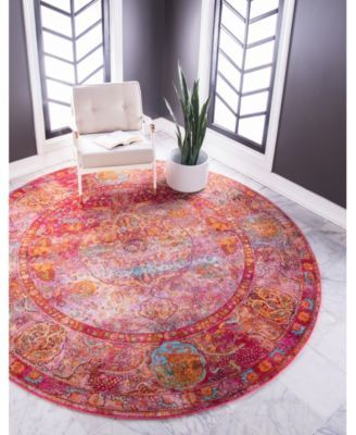 Bridgeport Home Kenna Ken1 Red 5 5 X 5 5 Round Area Rug