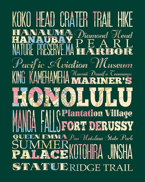 Honolulu Hawaii Typography Poster/Bus/ Subway by LegacyHouseArt, $42.95