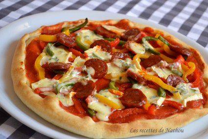 Pizza pepperoni au chorizo et Cambozola