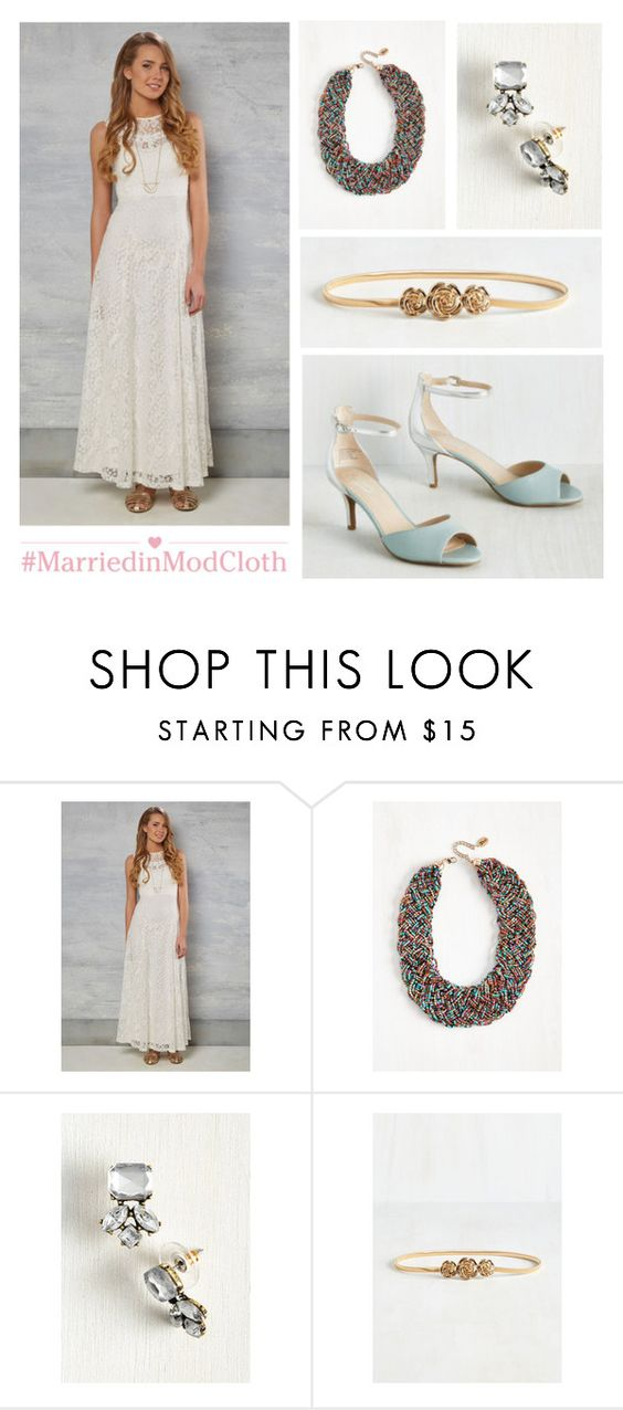 """""""Ready, Set, Romance Dress in Ivory"""" by modcloth ❤ liked on Polyvore featuring Seychelles"""