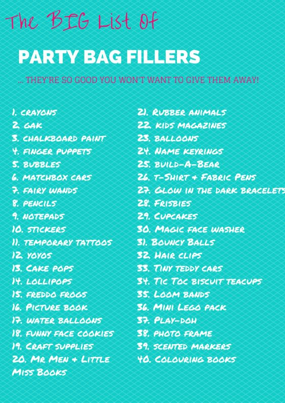 big list of party bag fillers ideas