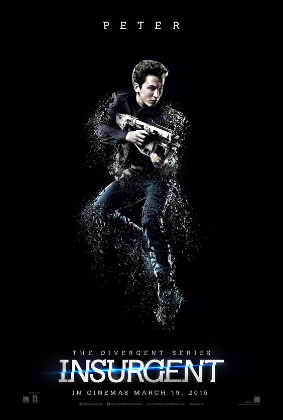 Miles Teller as Peter. The Divergent Series: #Insurgent, In Theaters 19/03/15. #Insurgent   Facebook: https://facebook.com/TheDivergentSeries Twitter: https://twitter.com/Divergent_AU Instagram: https://instagram.com/TheDivergentSeries Pinterest: http://pinterest.com/InsurgentMovie/ Website: http://www.TheDivergentSeries.com Follow 'DivergentSeries' on Snapchat