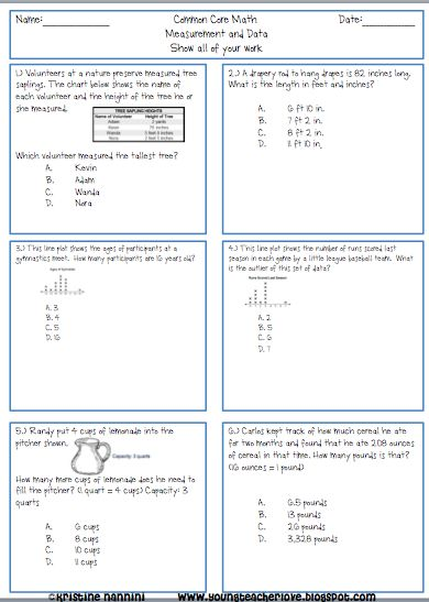 5th Grade Common Core Math Review Problems {Measurement and Data ...