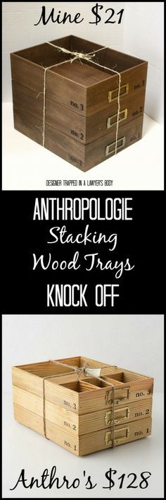 Anthropologie Knock Off Stacking Wood Trays for a FRACTION of the price! #anthropologieknockoff