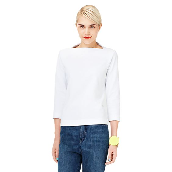 Long-Sleeve Slip Neck Tee in Cotton Jersey - Kate Spade Saturday
