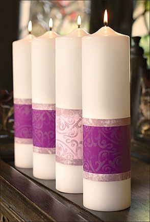 Advent Candles- Using plain white candles, purchase wide ribbon of 3 purple and one pink. Wrap around  each candle and pin.:
