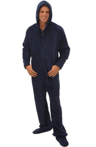 Men`s Footed Pajamas, Hooded, One Piece Pajamas with Zip-off Feet ...