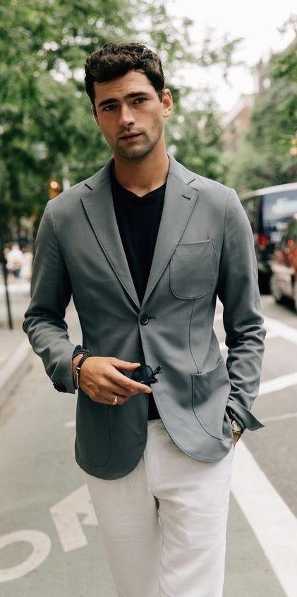 white v neck t shirt with blazer