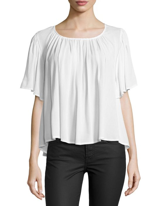 On the Road Lola Relaxed Flowy Blouse, White