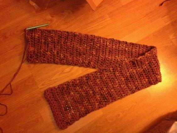 new warm scarf in medium purple and earthtones