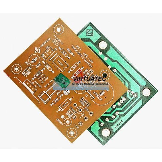 Placa p/ montar fonte ajustável 0~30V (máx 33V) com LM317 ou LM350