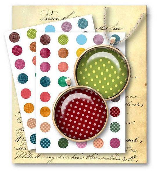178-Polka Dot 1 inch Circles Digital Collage Sheet - Vintage Papers - Digital collage sheets, Vintage Clipart, Printables, Scrapbooking supplies
