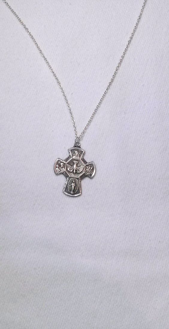 Sterling Silver Cross Pendant Necklace Upcycled by SadiesSnippets, $35.00