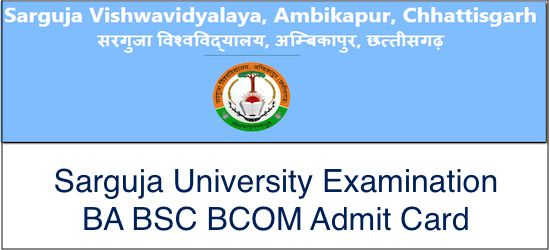 Sarguja University Admit Card 2018 2019 Cards University Name Wise