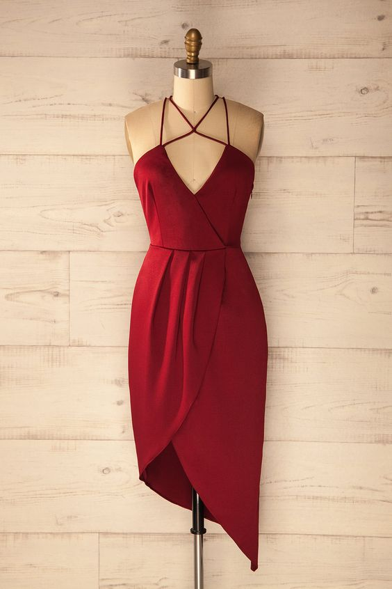 "«On ne naît pas femme : on le devient.» - Simone de Beauvoir  ""One is not born, but rather becomes, a woman.""  - Simone de Beauvoir Red multi straps cocktail dress www.lapetitegarconne.ca:"