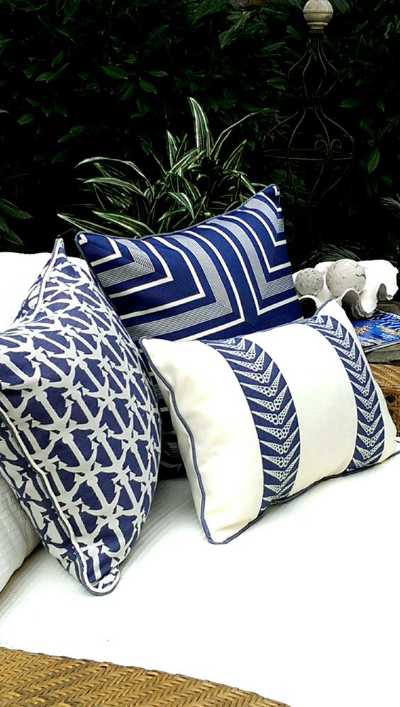Blue and White Pillows...creative use of stripes