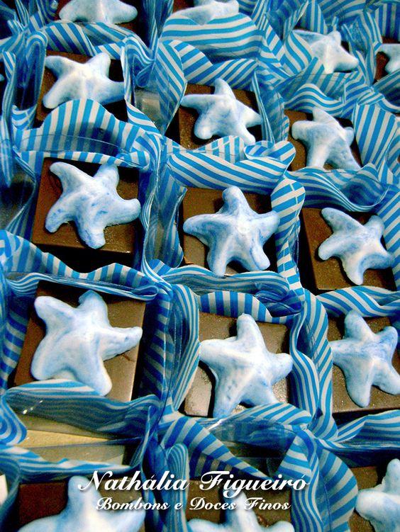 Bombom de nutella com estrela do mar.