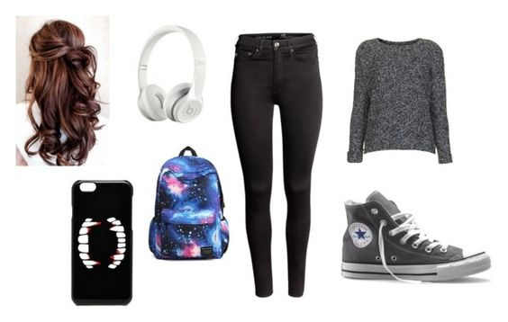 """(Y/n) outfit1"" by firetiger-xx ❤ liked on Polyvore featuring Topshop, H&M, Converse, Beats by Dr. Dre and ASOS"