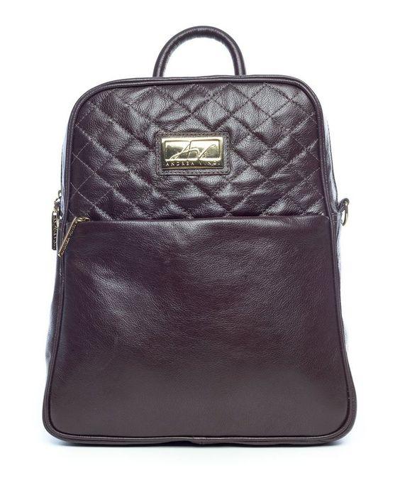 Mochila feminina com matelassê em couro legítimo marrom - Enluaze Loja Virtual | Bolsas, mochilas e pastas