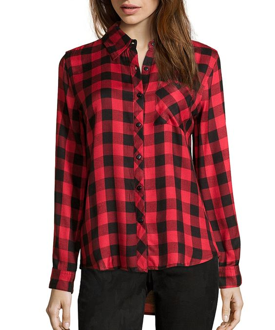 red and black plaid flannel button front shirt
