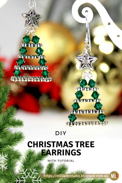 Wow! These easy DIY Evergreen Christmas Tree Earrings are made by stringing spacer bars of graduated sizes with Swarovski crystals. Such a clever way to use jewellery findings! #jewelrymaking #Christmasearrings #MillLaneStudio #DIYjewelry #jewelryfindings #easycrafts