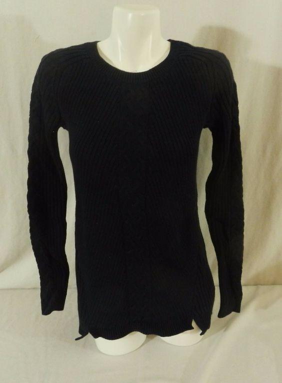 NlWT Nautica Tunic Cable Knit Ladies Womens Sweater Navy Blue Medium #Nautica…
