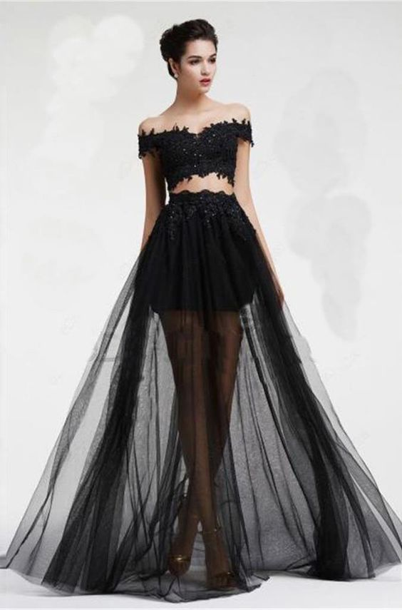 Long Black A-line Appliques Prom Dresses 2019 Two Piece