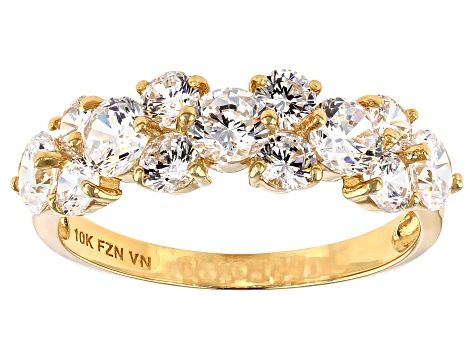 White Cubic Zirconia 10k Yellow Gold Ring 2 13ctw Blg190 Gold Rings Yellow Gold Rings Jewelry