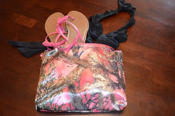 Pink camo swim suit bag by lemonbees on Etsy, $8.00