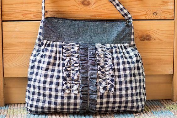 White blue checked linen frills shoulder bag handbag by SomBags