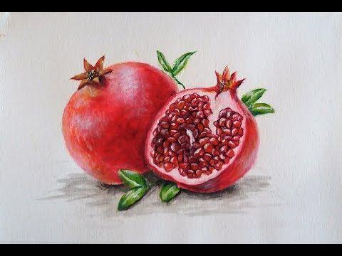 Como Pintar Una Granada Fruta Con Acrilicos Youtube Cuadros De Frutas Dibujos De Frutas Pintar Frutas