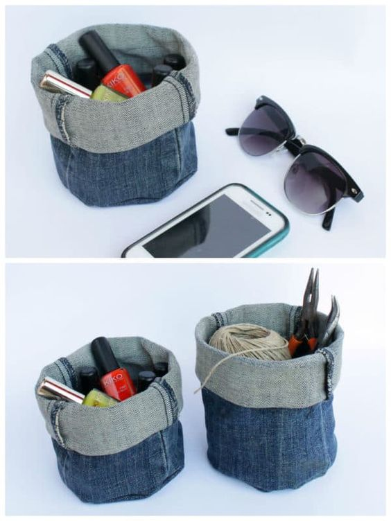 Upcycle your old denim jeans into these useful baskets, no sewing required.  #Bucket, #Denim, #Diy, #Jeans, #Recycled #Clothing, #Do-It-YourselfIdeas