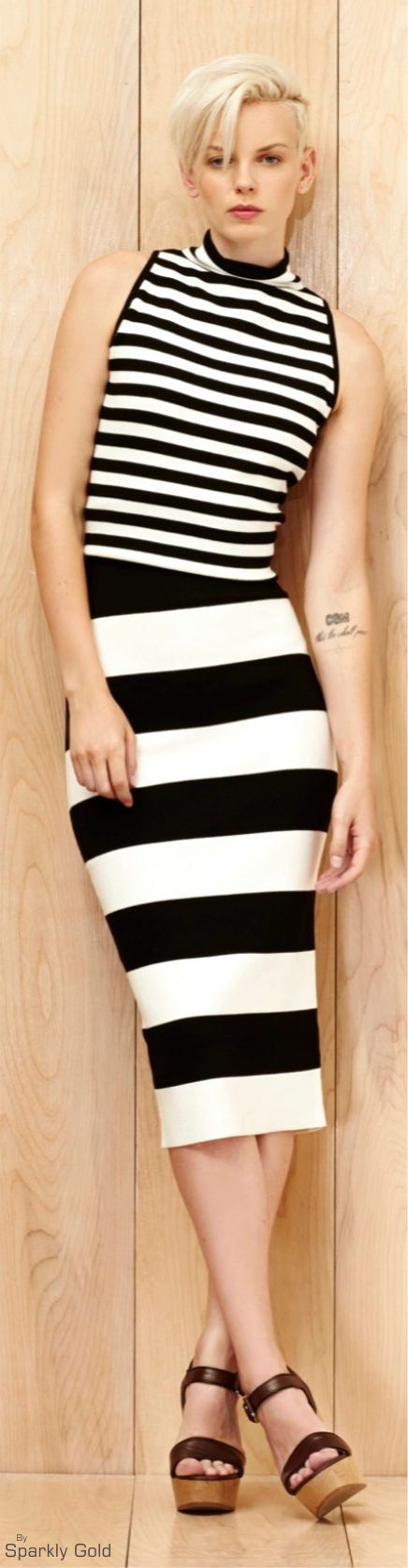 Milly Resort 2016 striped black white dress  women fashion outfit clothing stylish apparel @roressclothes closet ideas: