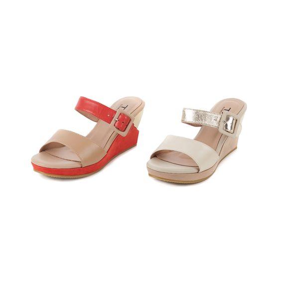0-TAS 韓系撞色方釦寬版繫帶楔型涼鞋-淺卡其 - Yahoo!奇摩購物中心