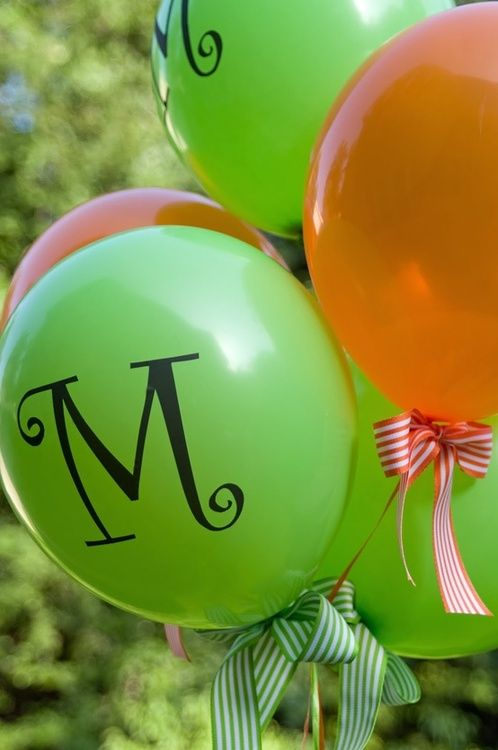 preppy balloons, love the monogram