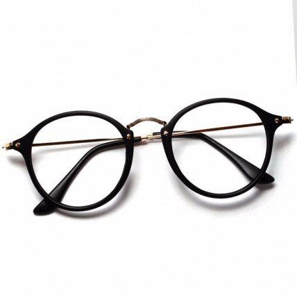 Armacao Oculos Redondo Retro Preto Transparente Rosa Oncinha
