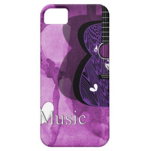 Love Music Jazzy Purple Guitar Phone Case