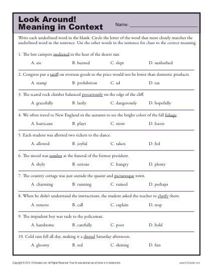 Printables High School Language Arts Worksheets look around meaning in context clues activities and middle school worksheet lesson activity around