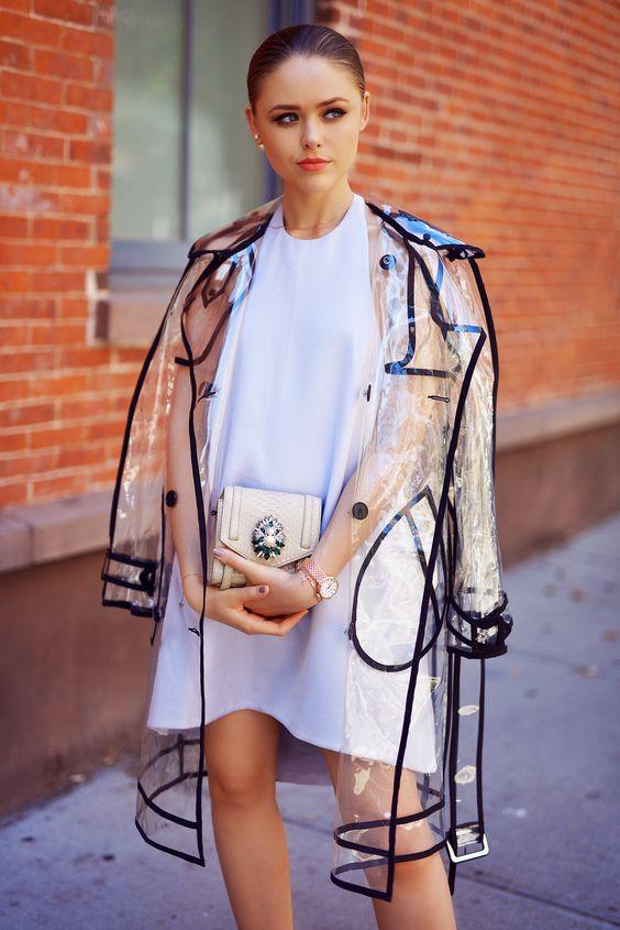 Transparent contrast trim trench coat