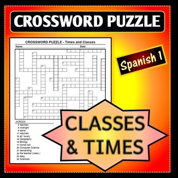 Spanish 1 - Crossword Puzzle for Classes and Telling Time ...