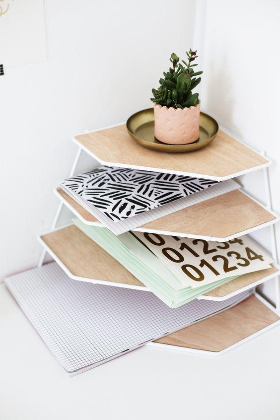 DIY balsa wood desk tidy tutorial   workspace tidy up   easy craft ideas