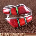 Red Oyster Shell Opal Inlay Sterling Silver Ring