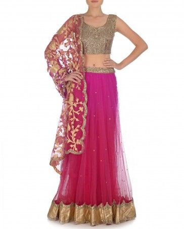 Ombre Magenta and Red Lengha Set