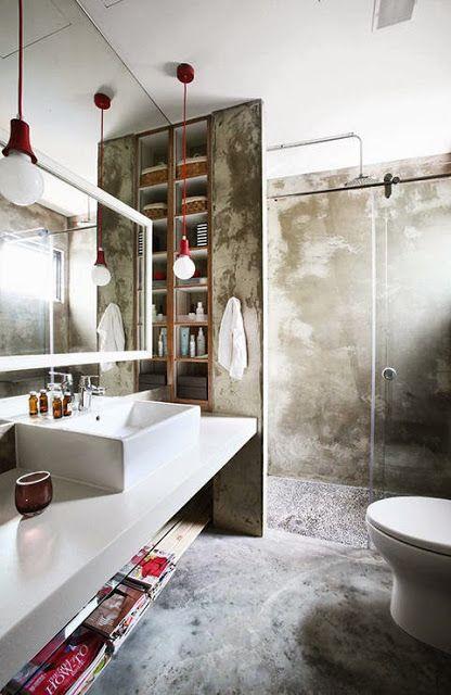 我們看到了。我們是生活@家。: 以裸露的混凝土為主要元素,帶有工業風個性的衛浴!新加坡的設計公司19SIXTYSEVEN