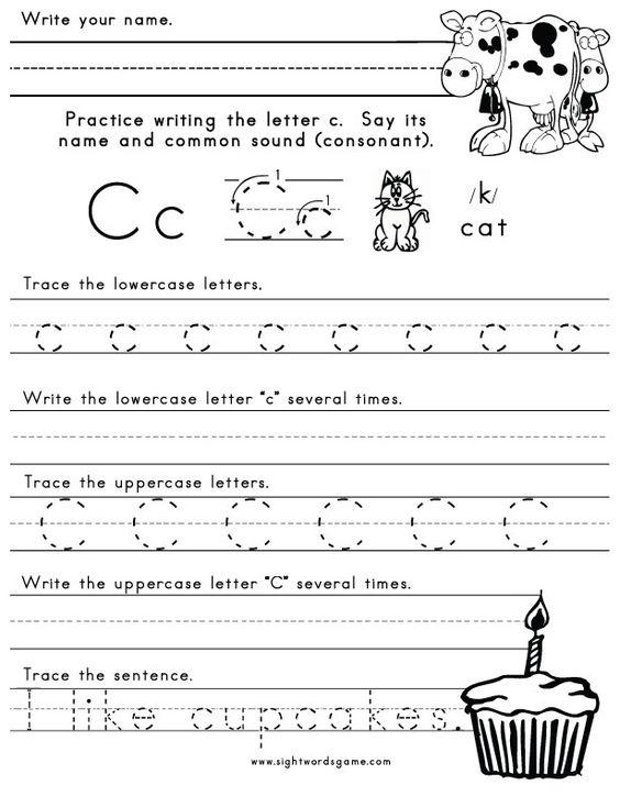 math worksheet : upper and lower case c worksheets for preschoolers  several  : C Worksheets For Kindergarten