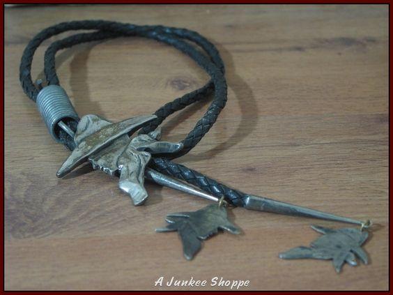 ROGER MILLER Cowboy Head Sterling Silver Bolo Neck Tie Stamped 88  http://ajunkeeshoppe.blogspot.com/