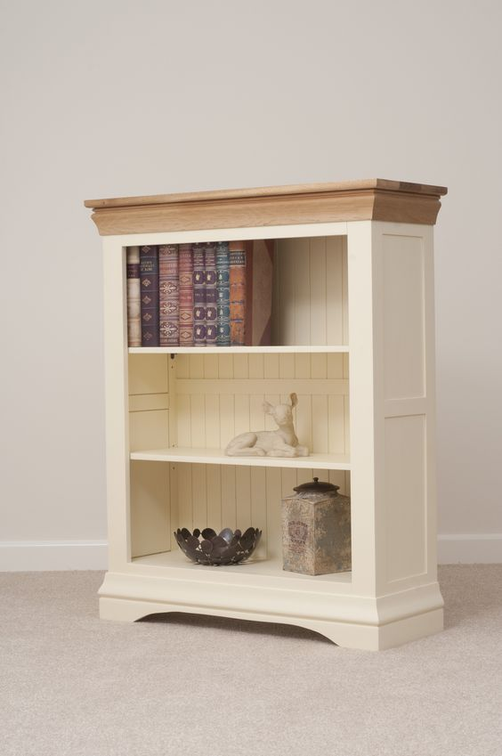 Oak furniture land country cottages and bookcases on pinterest for Cream painted furniture living room