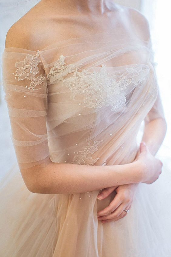 Off Shoulder Peach Wedding Dress by WeekendWeddingDress