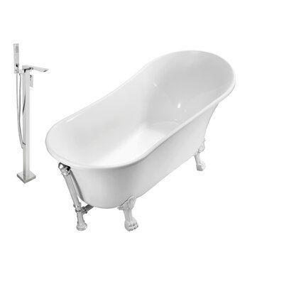 Streamline Bath 59 X 28 Clawfoot Freestanding Soaking Bathtub Feet Finish White In 2020 Soaking Bathtubs Bathtub Tub Faucet