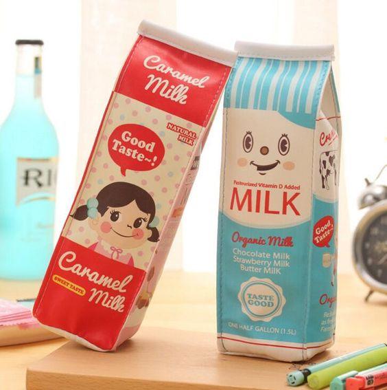 Creative Simulation Milk Box PU Leather Pencil Case Stationery Storage Organizer Bag School Office Supply Escolar Papelaria